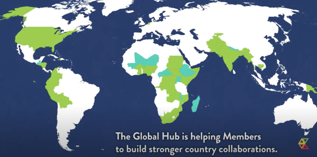 """A picture of the all the world's continents, with over 40 countries highlighted in green. Text at the bottom says """"The Global Hub is helping Members to build stronger country collaborations."""""""